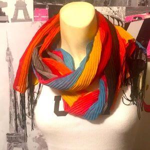 """New Claire's Pleated """"Rainbow"""" Fringe Scarf"""